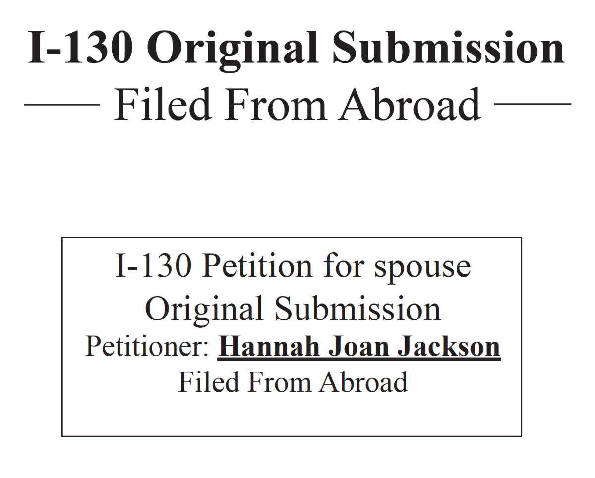 USCIS: Our I-130 Packet