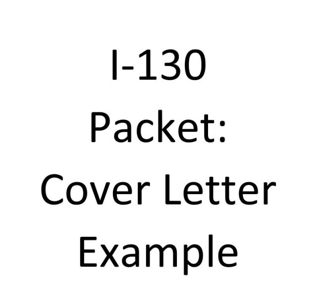 I 130 Packet Cover Letter Example REHAZU